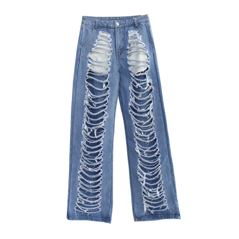Leisure Beggar Pants For Women In Straight Jeans With Loose Holes In Them In 2019 Jeans Woman  Fake Zippers Pockets Full Length