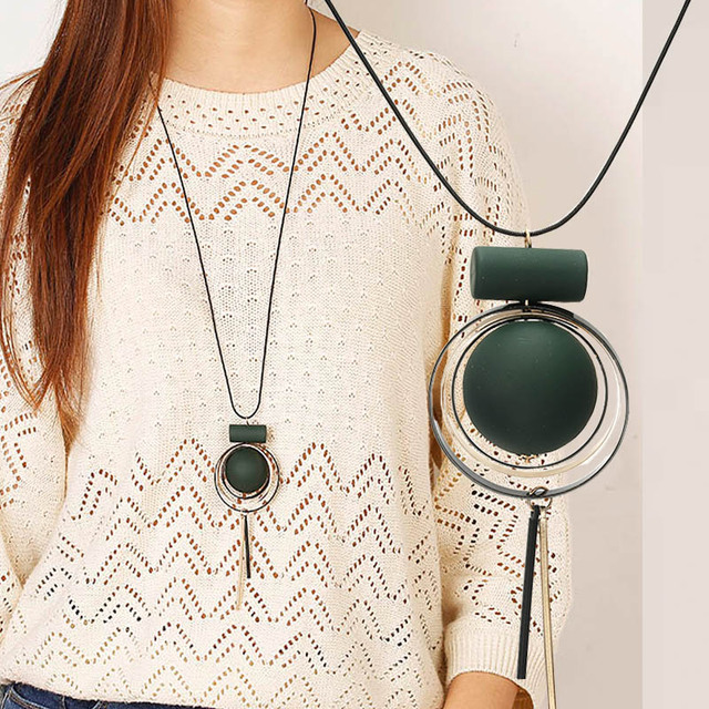 Nuevo diseño suéter largo collar cadena mujeres círculo cuerda colgante collar joyería accesorios venta al por mayor