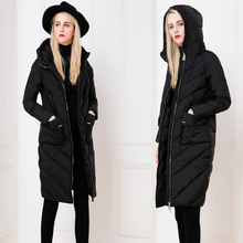 2016 new winter Europe and the big jacket lady in the long thick slim long extended knee large slim with hat woman jacket