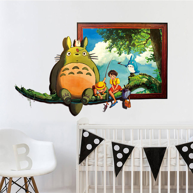 3D Personnage De Dessin Animé Totoro Série Chat Stickers Muraux Pour