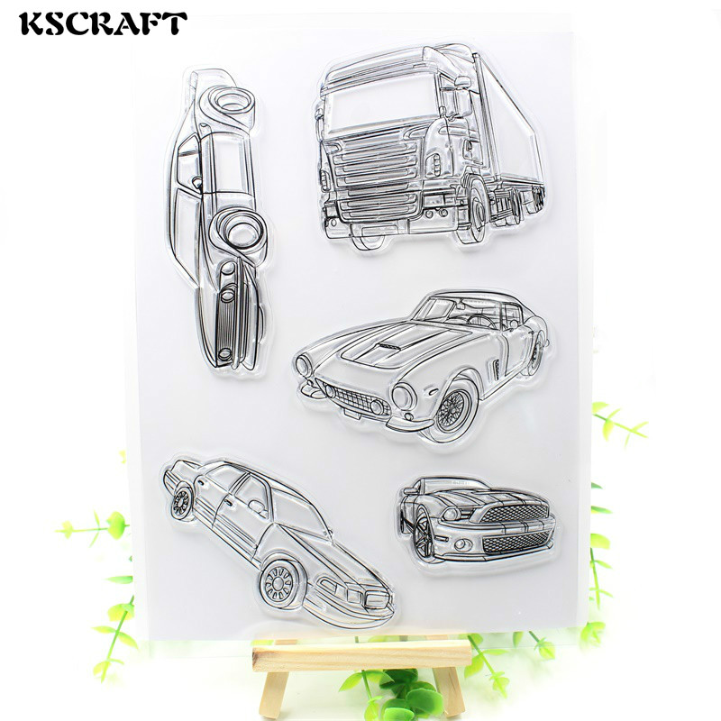 KSCRAFT Cars Transparent Clear Silicone Stamp/Seal for DIY scrapbooking/photo album Decorative clear stamp sheets wish list transparent clear silicone stamp seal for diy scrapbooking photo album decorative clear stamp sheets