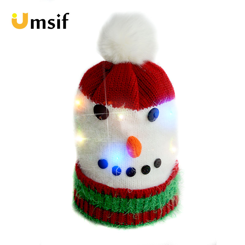 2018 Winter LED Christmas Beanie Hats Parent-child Pompoms Beanie Cap Light  Up Knitted Hat for Children Adult Christmas Party 2d8e4825bc77