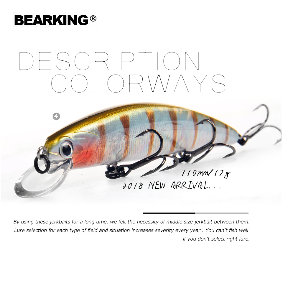 2018 Bearking Brand M109 Fishing Lures Minnow 11cm 17g quality Baits Deep Diving 1.5M Wobblers Fishing Tackles Free shipping sealurer 5pcs fishing sinking vib lure 11g 7cm vibration vibe rattle hooks baits crankbaits 5 colors free shipping