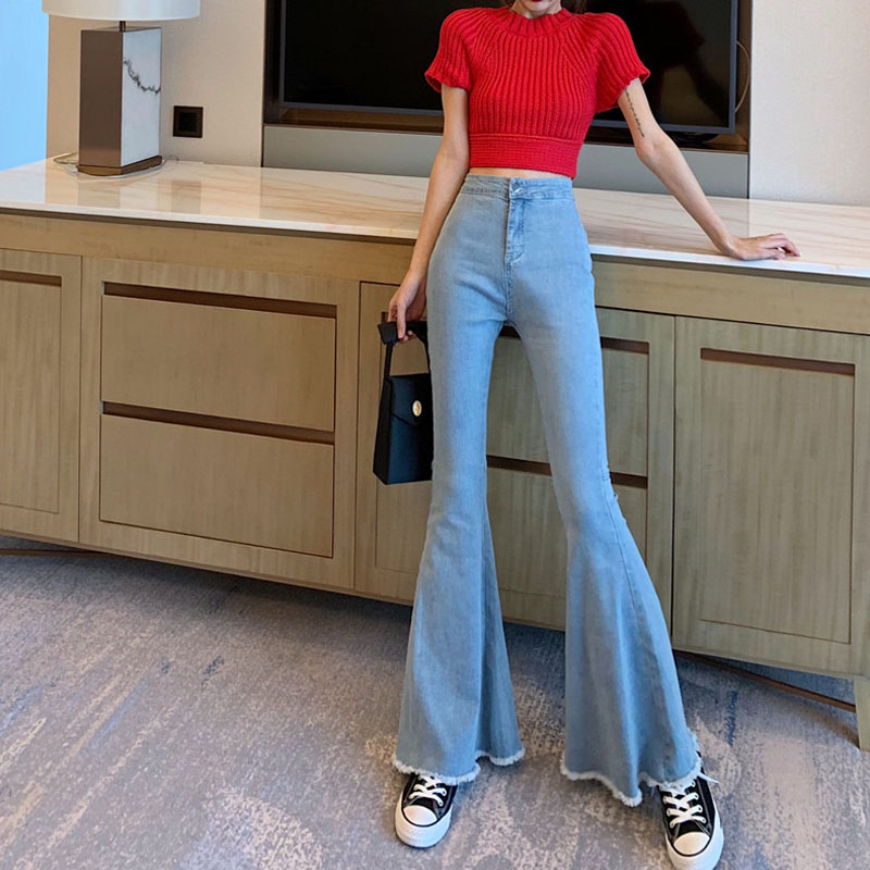 Blue Button Up Flare Hem Jeans Woman Long Denim Trousers Vintage   Pants     Capris   2019 High Waist Stretch Slim Women Jeans