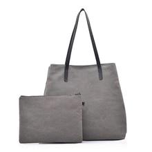 Фотография New Fashion Big Women Canvas Composite Bag Ladies Shoulder Bags Handbags Women Brands Large Capacity Casual Tote Bags Grey