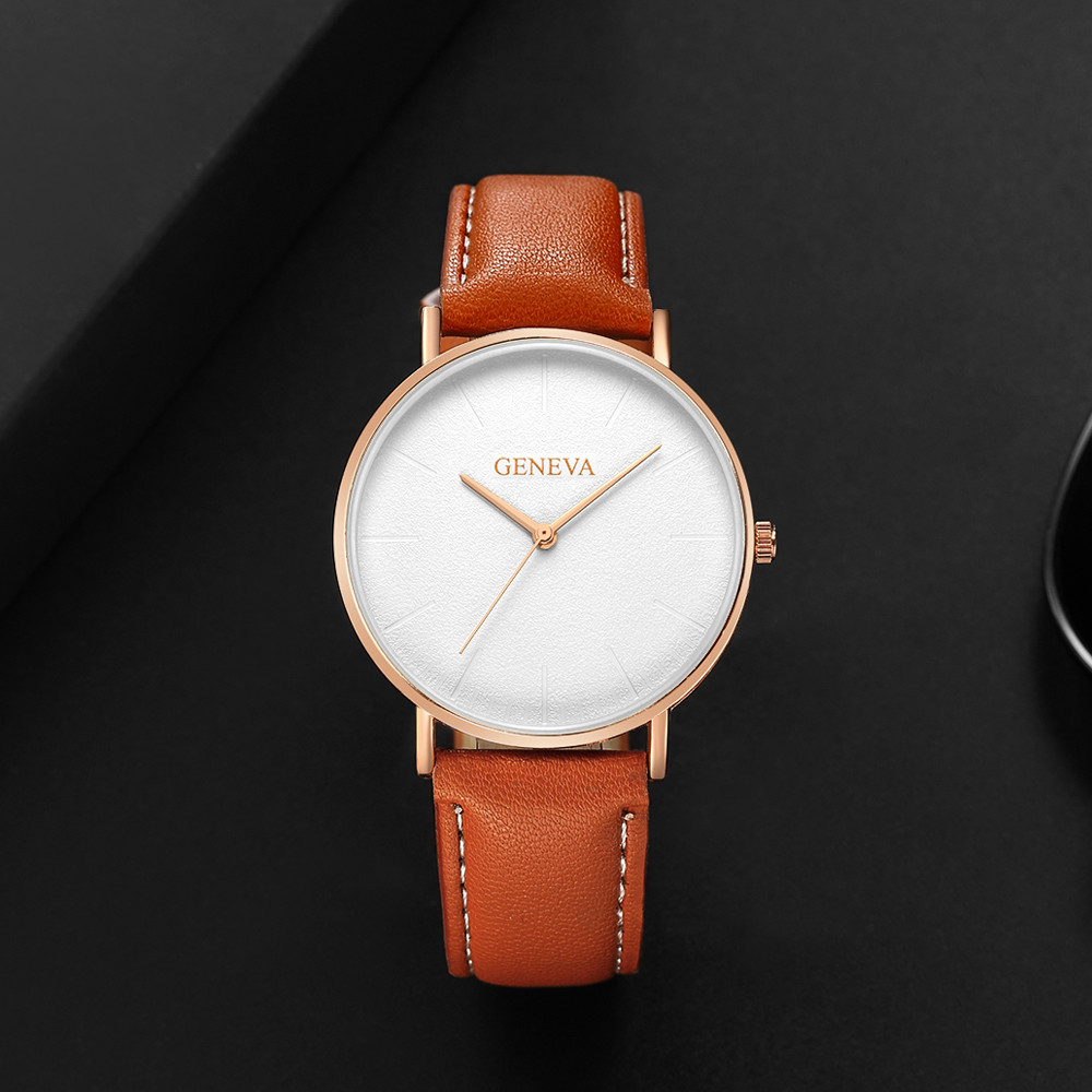 Cheap Fashion Casual Women Students Minimalist Trend Temperament Art Design Small Dial Leather Couple Watches @F