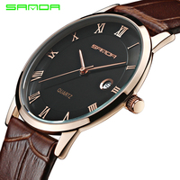 7mm Super Slim Quartz Casual Wristwatch Business Japan SANDA Brand Genuine Leather Analog Quartz Watch Men