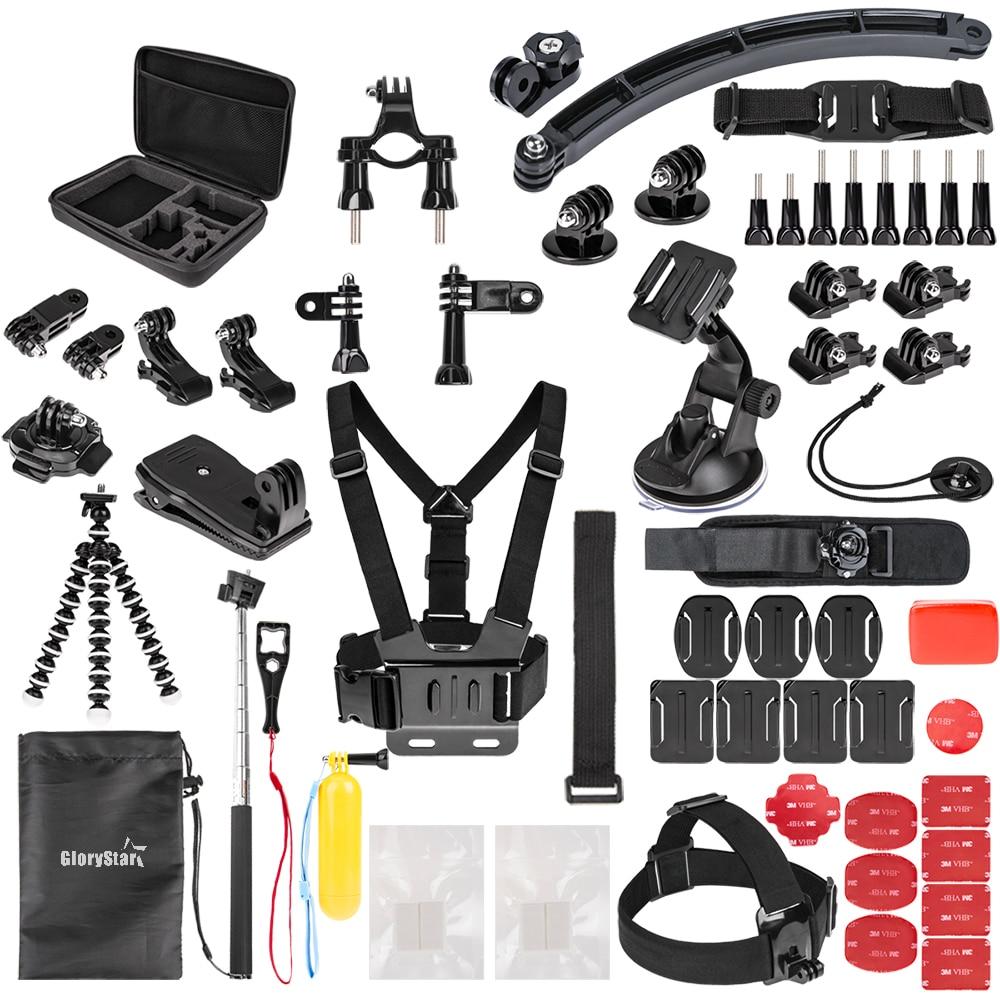 GloryStar Sports Action Camera Accessory Kit for GoPro Hero6 5 Black, Hero 5,4,3,2,1 APEMAN,SJCAM for Xiaomi Yi Xiao mi Yi2 4K цена