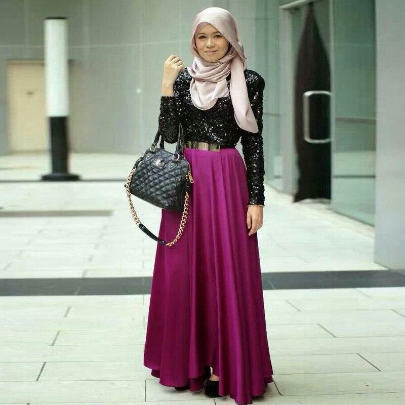 Maxi Made Chic Longueur Longues Et Muslimah Une Femmes Ligne Jupes Pourpre Zipper Étage Invisible Custom Mode Hijab De x840aq