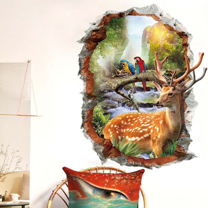 Sika Deer 3D Wall Stickers Natural Landscape Home Decorative Stickers Fake Window Landscape Wallpapers Animals Home Decor
