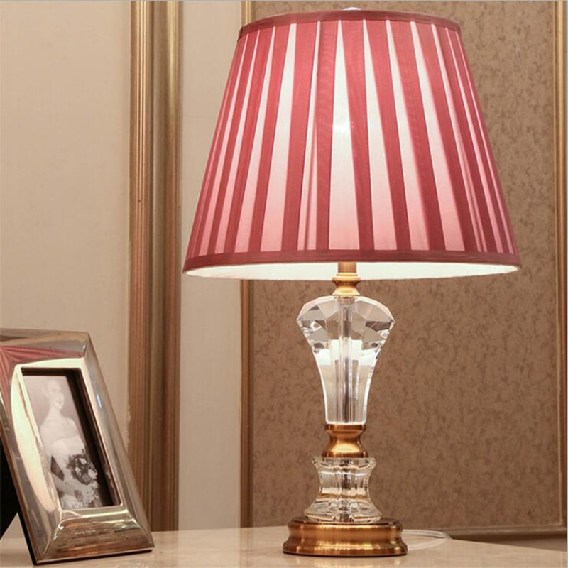 Modern Simple Pink Crystal Fabric Led E27 Table Lamp for Children\'s ...