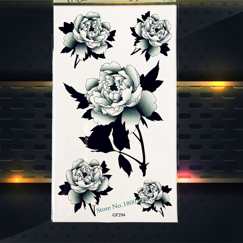 3D Black Roses Leaf Temporary Tattoo Women Makeup Sexy Body Art Arm Tattoo Stickers PGF294 Fake Flash Tattoo Party Summer Style