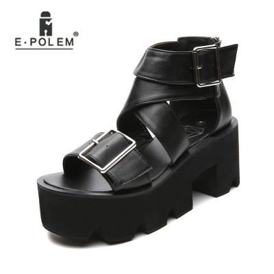 Gladiator Women Summer Thick Heel Sandals Punk Black Platform Shoes Zipper Behind Party Genuine Leather Wedge Sandal With Buckle