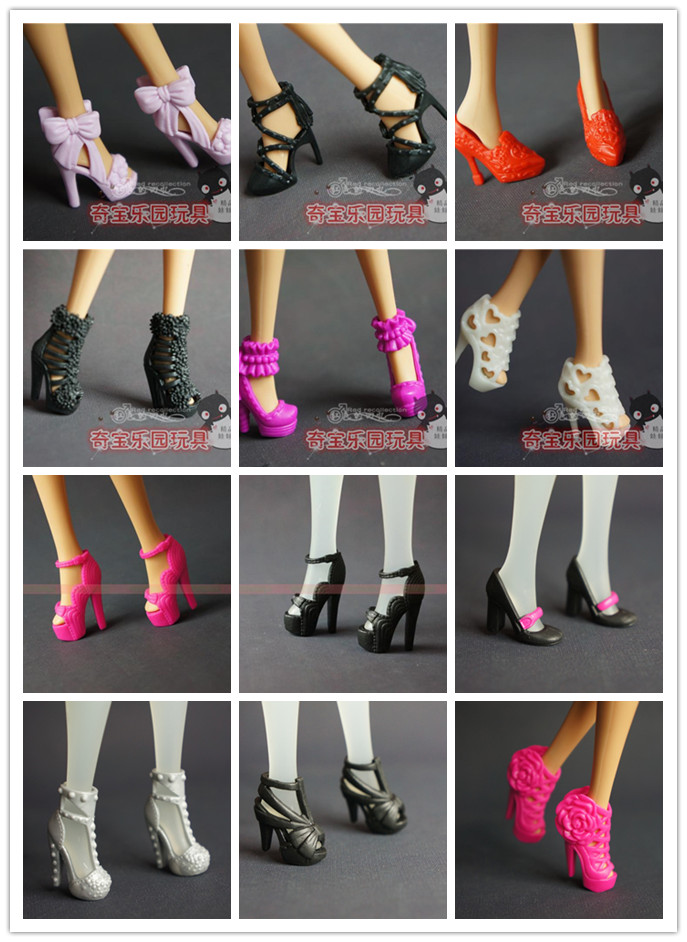 100 Pair for barbie doll shoes and a Accessories Shoes Mix Style Mix Color Shoes For Doll 1/6, 200pcs/lot Wholesale