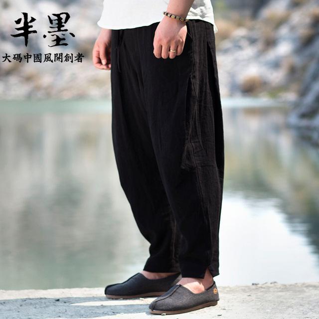 Nuevo varón de la llegada más el tamaño de lino Placketing vendimia lavado con agua pantalones pantalones hasta los tobillos grandes tamaño 2XL-6XL