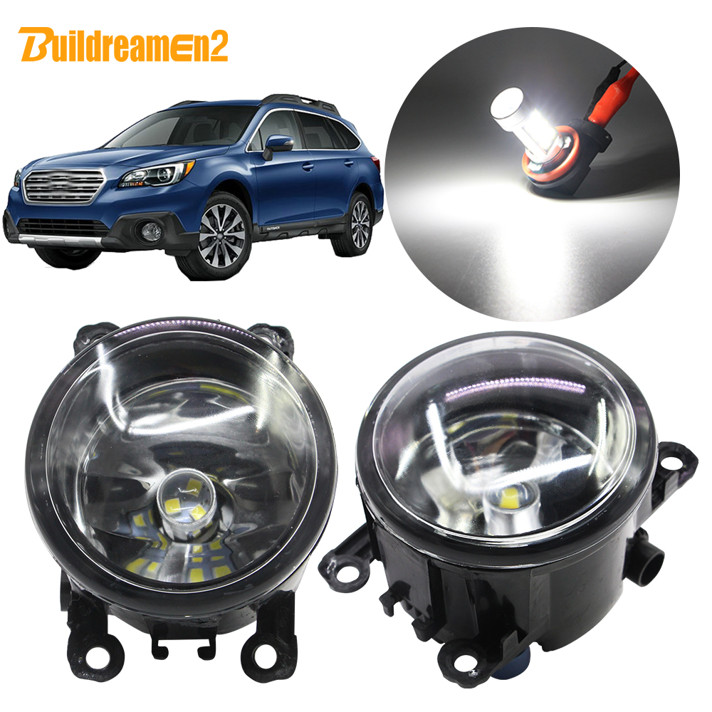 Buildreamen2 For Subaru Outback 2010 2011 2012 Car Styling H11 Fog Light Assembly Lampshade + Bulb Daytime Running Light DRL 12V