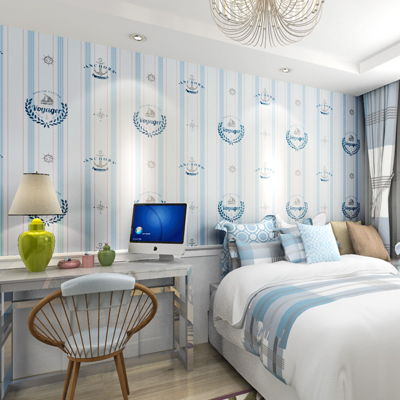 Купить с кэшбэком PAYSOTA Children Room Wallpaper Boy Cartoon English Style Non-woven Bedroom Mediterranean Vertical Stripe Wall Paper Roll