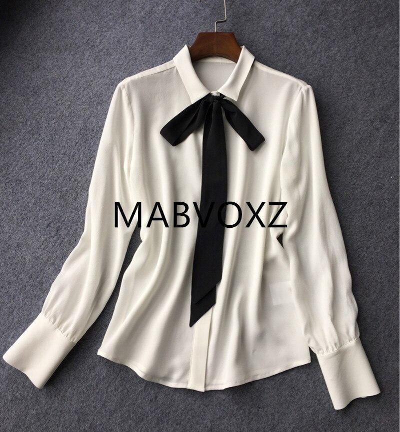 Kobiety miękkie jedwabne biała bluzka czarna wstążka krawat łuk szyi, żeński, moda z długim rękawem koszula Top dla wiosna jesień w Bluzki i koszule od Odzież damska na  Grupa 1