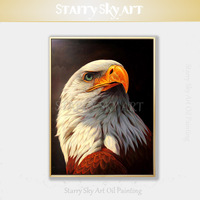 Gifted Artist Hand painted Realistic Bird Eagle Oil Painting on Canvas High Quality Bald Eagle Oil Painting for Wall Decoration