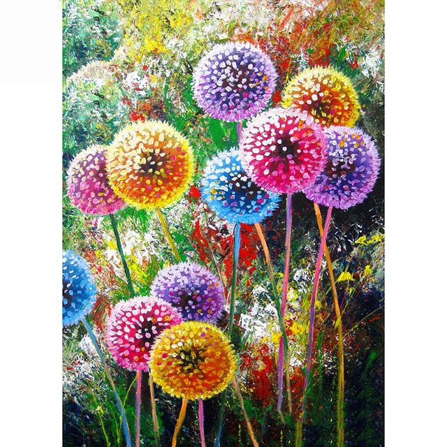 Full Square Round Drill 5D DIY Diamond Painting quot Colored dandelion quot Embroidery Cross Stitch Home Decor Gift in Diamond Painting Cross Stitch from Home amp Garden