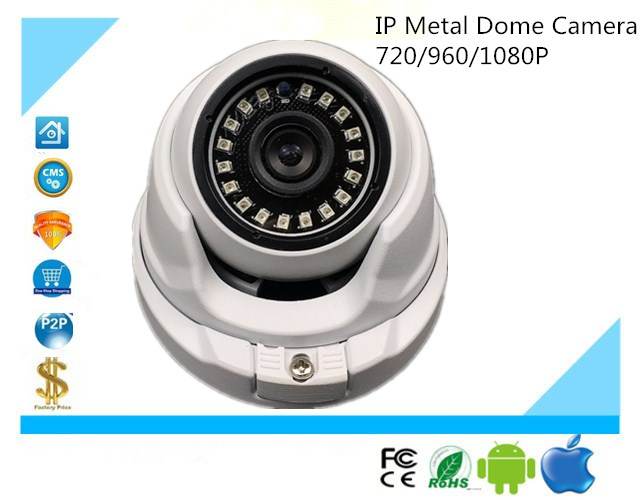 Ip Metal Dome Camera 720/960/1080p Ip66 Waterproof 18 Leds 14mil Infrared Nightvision Onvif Xmeye Cms Cctv Security Security & Protection