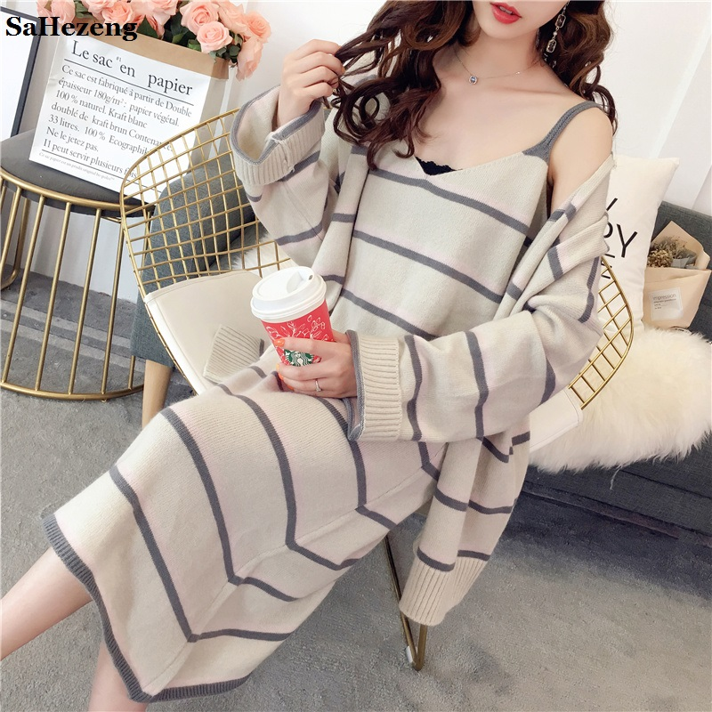 2 Pieces Striped knitting Long Cardigan Sets 2018 Winter Autumn Women Sexy Sweater Dress Sets Elegant Ladies Suits Sets A06-2
