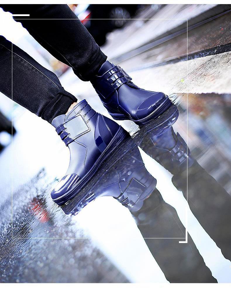 HTB1cVmkKeuSBuNjSsplq6ze8pXau - Dwayne 2018 Fashion PVC Waterproof RainBoots Waterproof Flat Shoes Men Black Rainboots Blue Rubber Ankle Boots Buckle Botas