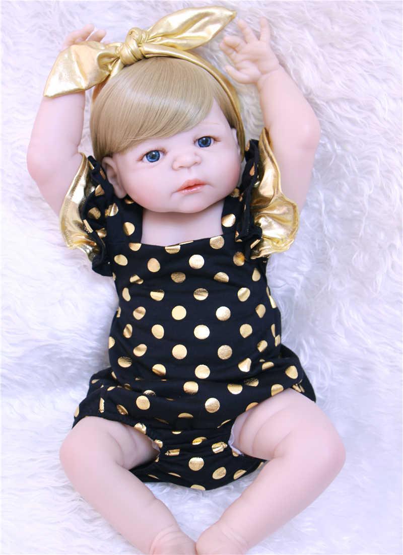"""Cabelo loiro menina bebes reborn 22 """"NPK cheio de silicone bonecas reborn bebês reborn bonecas para crianças brinquedos bonecas presente"""
