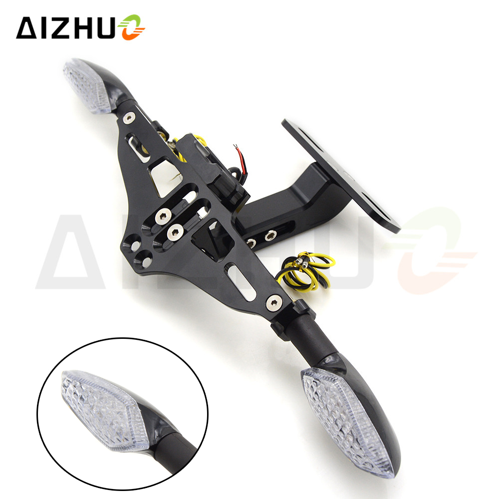Motorcycle Universal License Plate Bracket Holder Turn Signal Lights FOR YAMAHA FZ1 FAZER FZ6 FAZER FZ6R FZ8 MT 07 FZ 07 MT07 in Covers Ornamental Mouldings from Automobiles Motorcycles