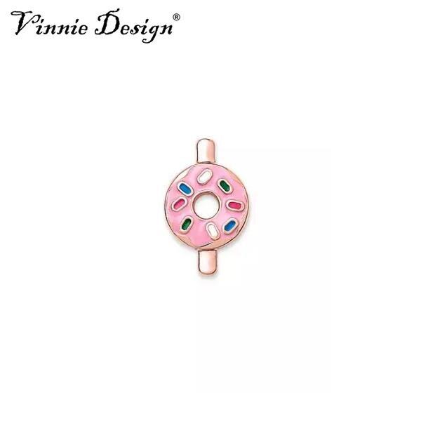 Vinnie Design Jewelry DONUT Slide Charms fit on Keepers Bracelets Keys for Wrap Bracelet 10pcs/lot