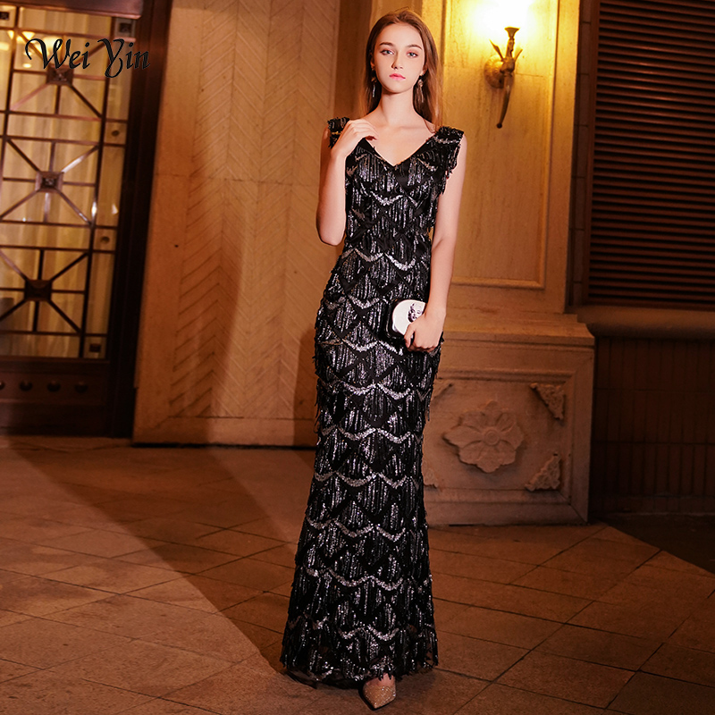 Weiyin Luxury Long Evening Dress Sequin Mermaid Evening Gown Deep V Black Formal Prom Dresses Robe De Soiree Longue WY1074