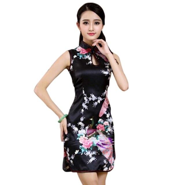 New Chinese Women Traditional Flower Cheongsam Silk Satin 2018 Elegant Sexy  Hollow Qipao Mini Summer Dress Vintage Vestido -in Dresses from Women s  Clothing ... 08c640fc5238