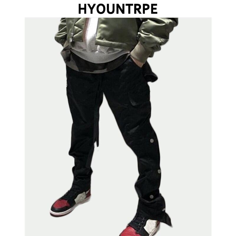 Erkek Kıyafeti'ten Dar Pantolonlar'de Erkek Rahat Hip Hop Joggers Yan Alt Düğme Pantolon Elastik Bel İpli Parça Sweatpants Yeni Kargo Streetwear Adam Pantol'da  Grup 1