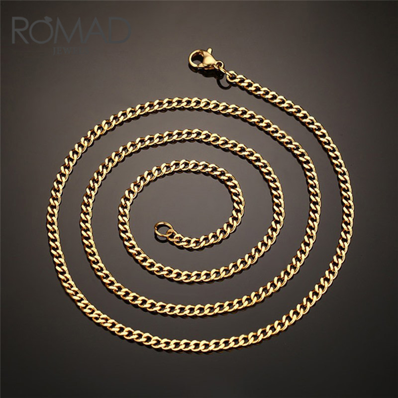 ROMAD HipHop Bling Jewelry Necklace for Women Men Iced Out Miami Titanium Steel Mail Chain Gold Silver Color CZ Rhinestones R4