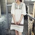 Vintage 70 s camponês bordado mexican dress bohemian longos vestidos das mulheres blusa de algodão 11 cor l plus size encabeça livre grátis