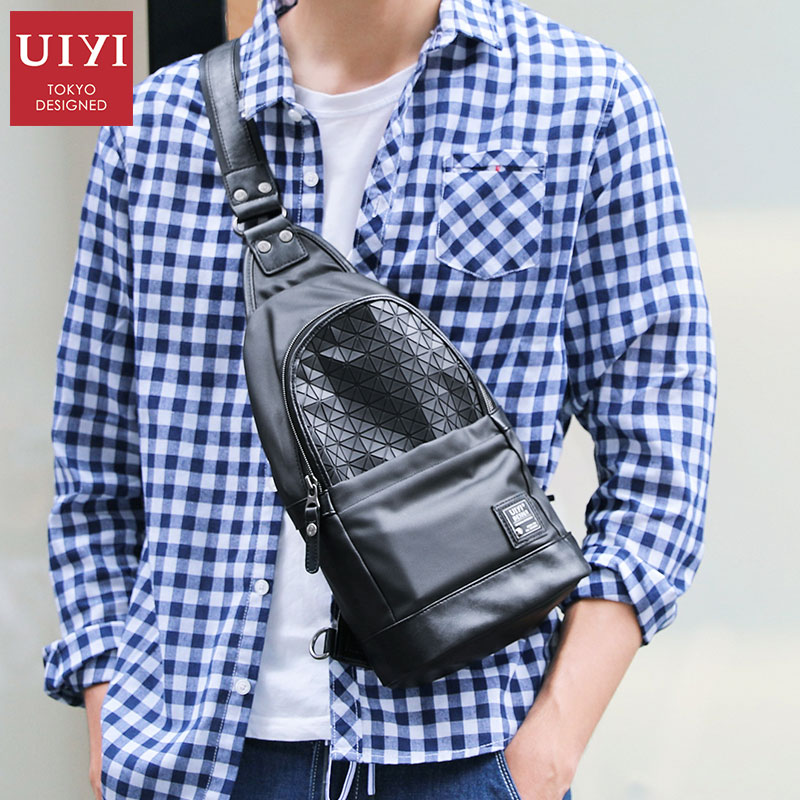 UIYI Brand Polyester Chest Bag Men Crossbody Bags Warterproof Chest Pack Leather Single Shoulder Strap Black Male Bags 2018 3d alligator men genius leather bag retro brand design 2015 new arrive single shoulder bags clavus chest package crossbody bags