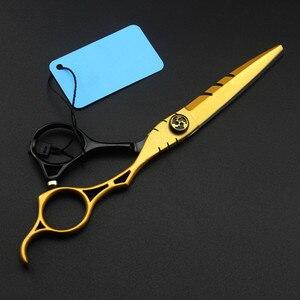 Image 2 - カスタマイズ日本440c 6インチゴールド中空ヘアーサロンはさみ切断理髪makas間伐はさみ理髪はさみ