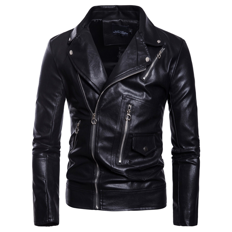 Knobspin Autumn Winter Casual Zipper PU leather Jacket men Classic Black mens Motorcycle Jackets high quality male Outwear Coat