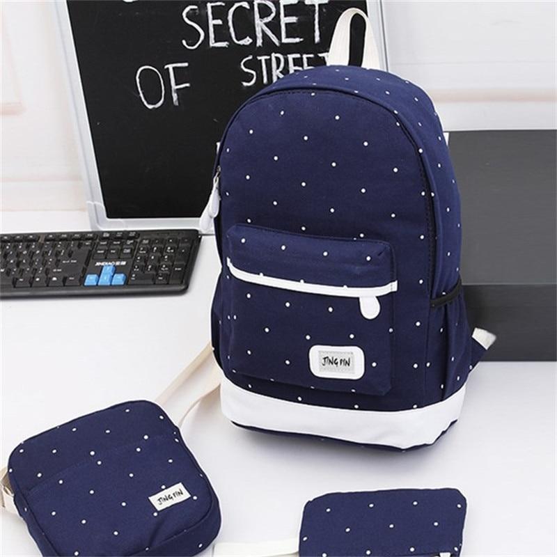 Miyahouse 3Pcs/Set Casual Dot Print Travel Rucksack For Teenage Girls Canvas Design Women Backpack Large Capacity Lady Backpack