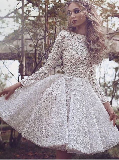 Gorgeous White Tail Dress 2017 Lace Log Sleeves Party For Women Summer Vestidos