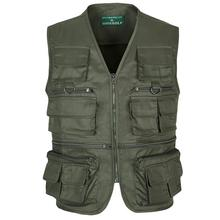 Brand Army Green Photography Vest Large Size Sleeveless Coats Military Jacket Multi-Pocket Field Mens Clothing Waistcoats