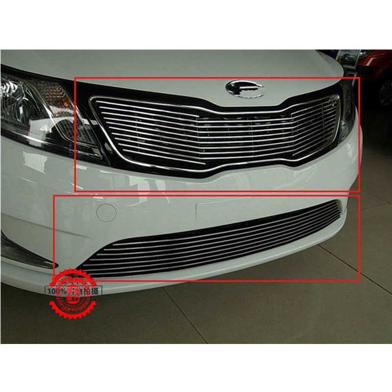 FOR 2011-2012 KIA Rio/K2 High quality stainless steel Front Grille Around Trim Racing Grills Trim 2011 2012 for peugeot 508 abs chrome front grille around trim racing grills trim