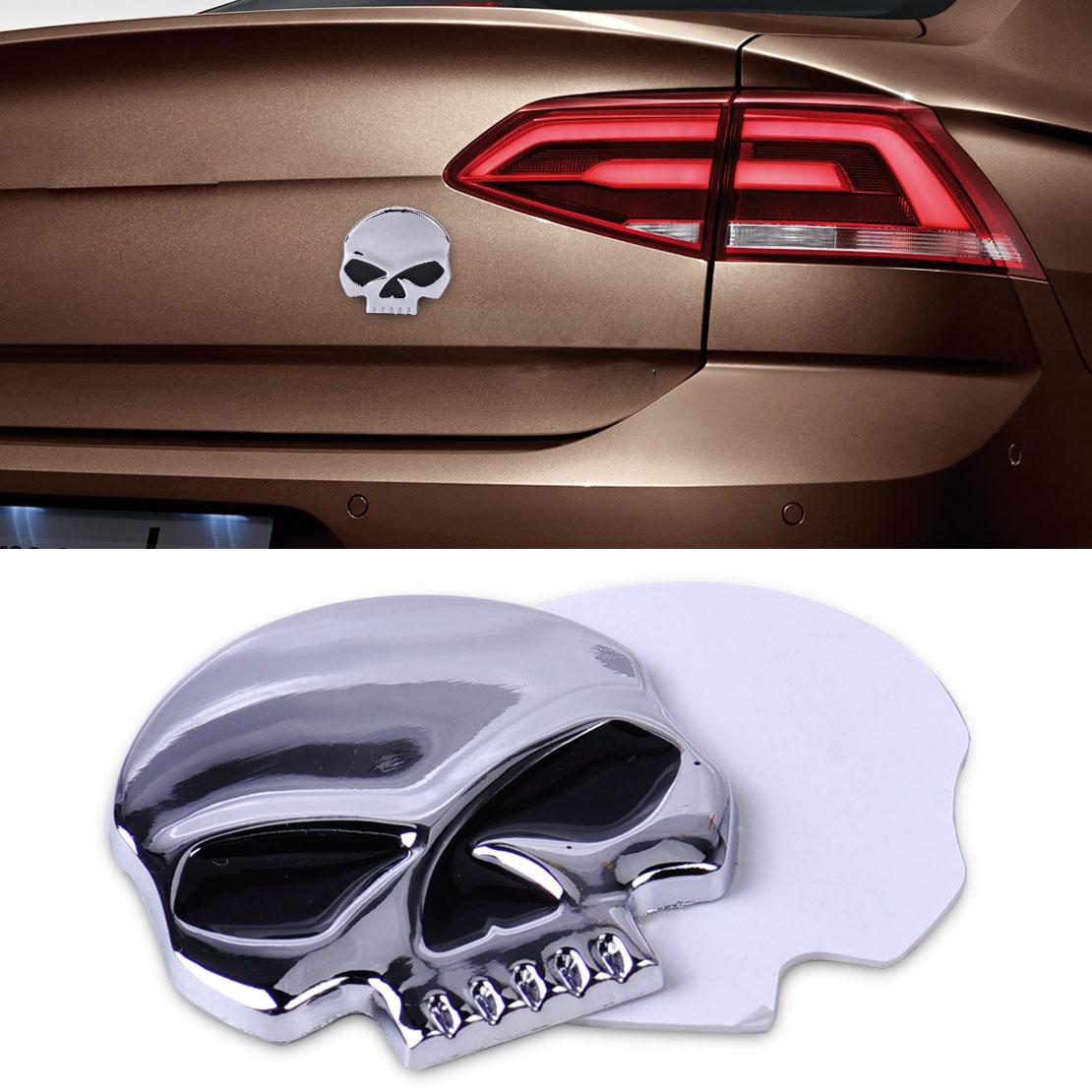 Design car emblem - Car Styling Stickers Decal Acc Metal 3d Silver Skull Skeleton Devil Head Emblem Badge Logo Sticker