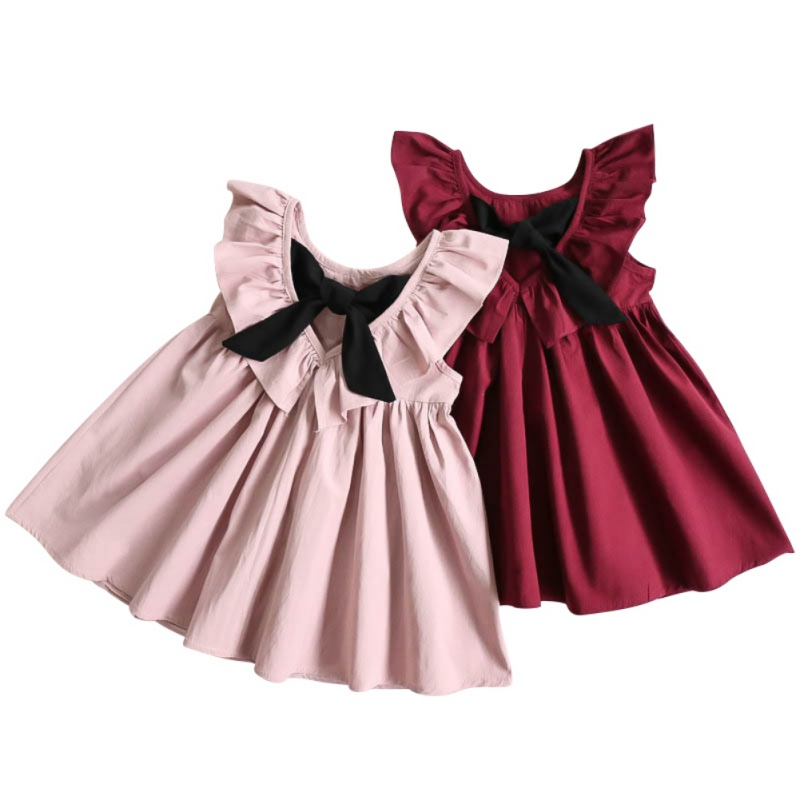 Cute Summer Dress For Girl Children Dress Bow Halter Ruched Kids Princess Dress Suit 1-6 Years цена 2017