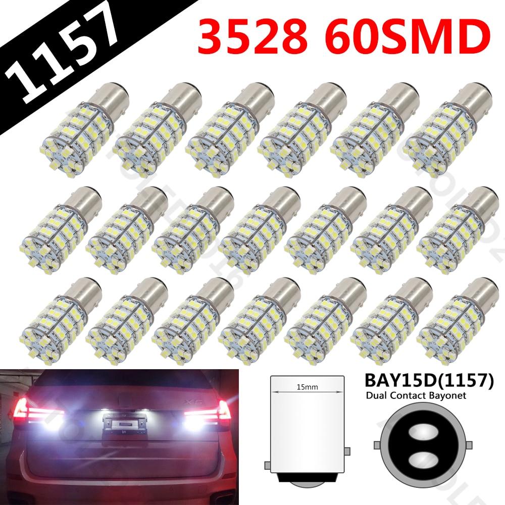 20Pcs Dual Color 1157 Switchback White Super Bright 1157 60-SMD LED Car Auto Tail Brake Light Bulb Signal Lamp Bulb 12v led light auto headlamp h1 h3 h7 9005 9004 9007 h4 h15 car led headlight bulb 30w high single dual beam white light