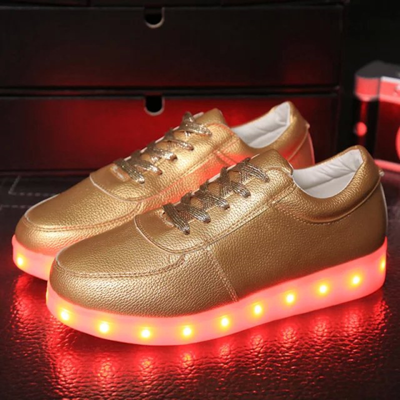 Eur 34 -46// Glowing Luminous Sneakers Led Slippers Light Up Shoes Illuminated Sneakers Tenis Shoes Krasovki Gold/sliver Shoes joyyou brand boys girls glowing usb children luminous sneakers with light up led school footwear illuminated teenage kids shoes