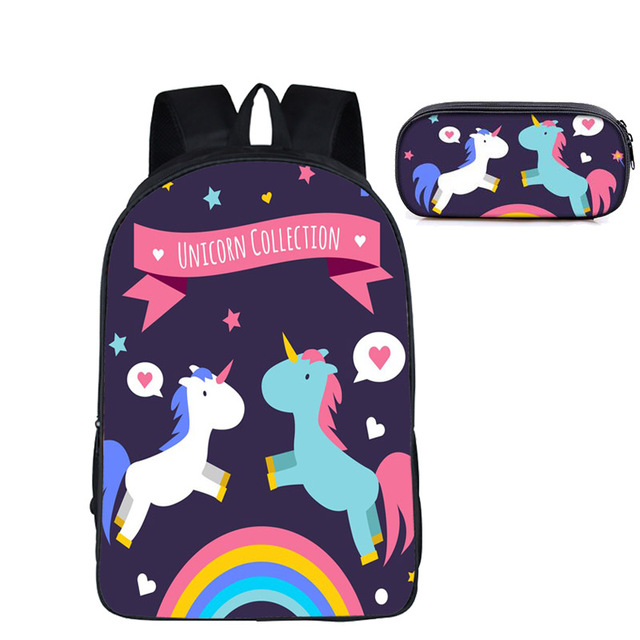 Girls Unicorn Backpack and Pencil Bag Set for Primary School Mochila Masculina Mochilas Mujer Travel Bookbag Teens Gift C002