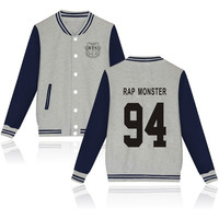 2018 BTS Kpop Baseball Winter Hoodies Men Popular Bangtan Hip Hop Harajuku Hoodies Women Casual Fashion