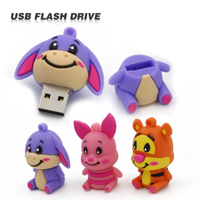 4 GB 8 GB 16 GB 32 GB Usb Flash Drive Pendrive Lindo Neddy Animal U Disco tarjeta de memoria flash del palillo de Pen Drive precioso Burro tigger