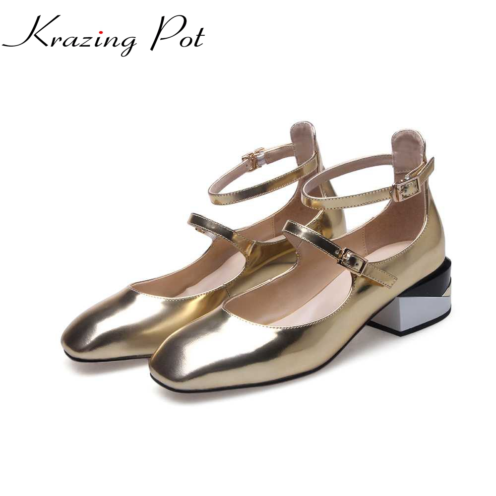 2017 krazing Pot New women pumps ankle strap med heels mixed color square toe princess style solid office mary janes shoes L7f1 2017 krazing pot new women pumps slip on cow leather med heels solid pointed toe princess style european designer nude shoes l29